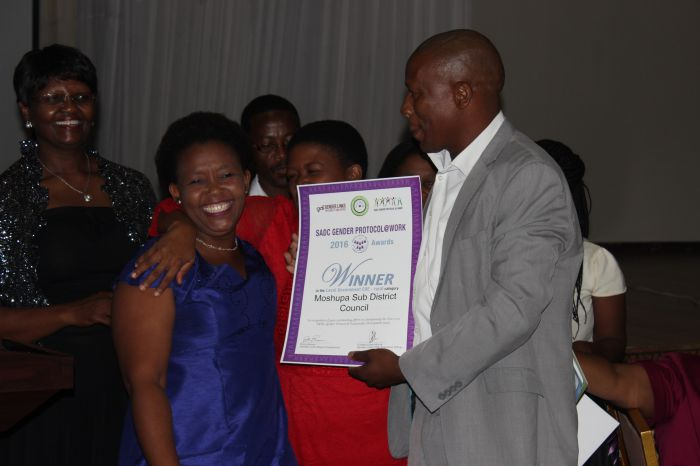 Winner of COE rural category Moshupa Sub District Council