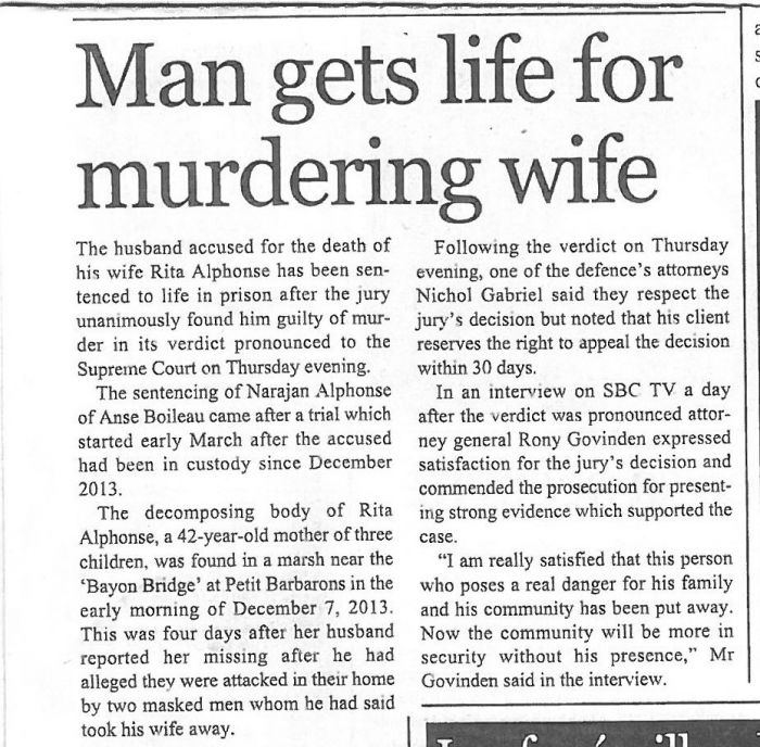Man found guilty of killing his wife_Seychelles Nation_03 April 2015