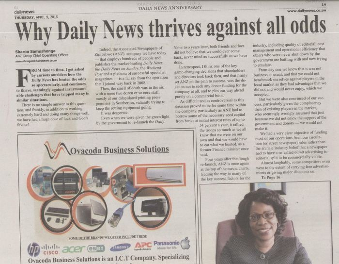 Why Daily News thrives against all odds Name of publication: Daily News Date: 9 April 2015