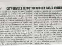 CITY UNVEILS REPORT ON GENDER BASED VIOLENCE_Mapepeza