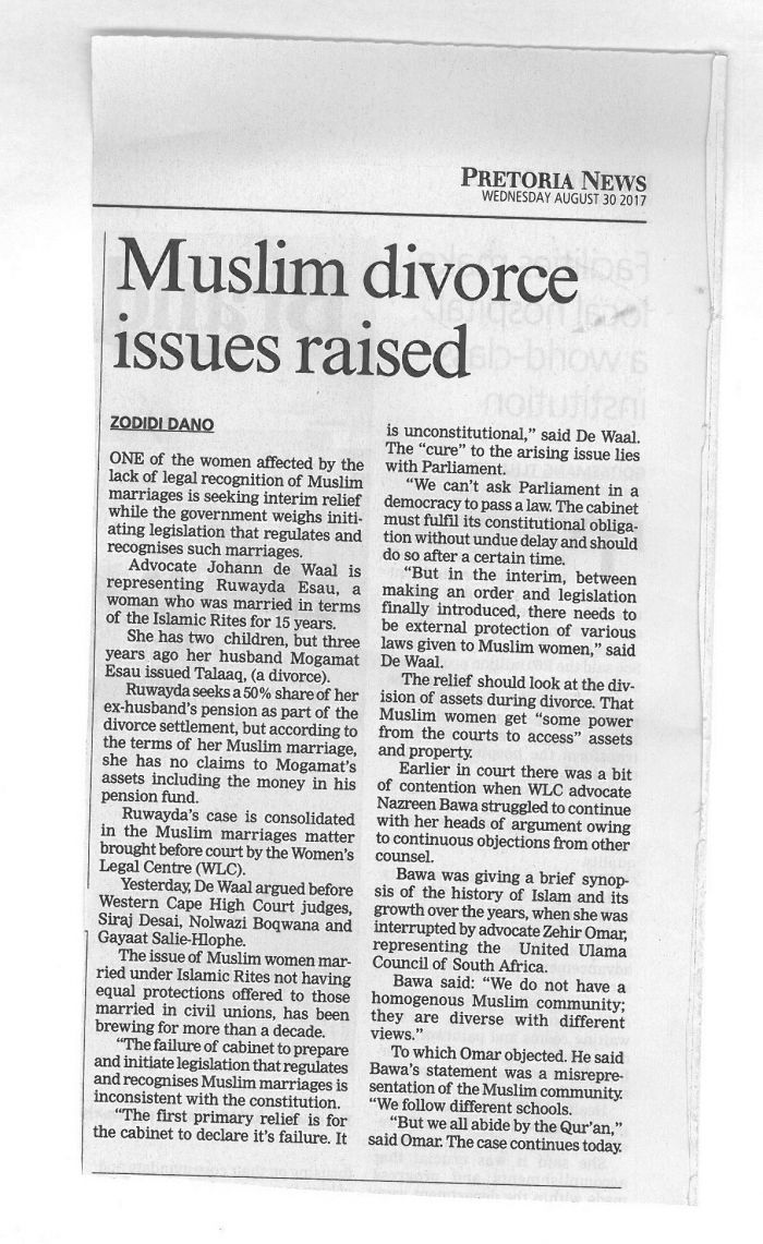 Muslim divorce issues raised_ Pretoria News