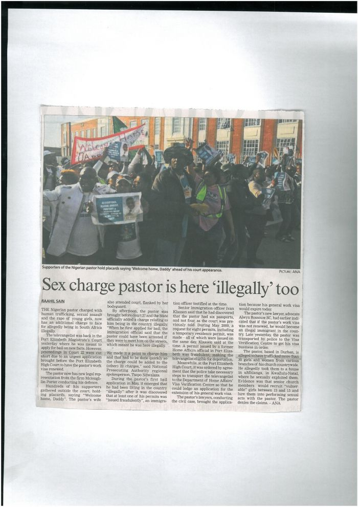 "Sex charge pastor is here "" illegally"" too_ Pretoria News"