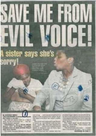 Save me from evil voice! A sister says she's sorry!, Daily Sun