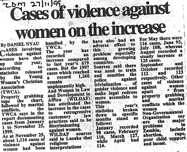 cases of violence against women on the increase zambia daily   cases of violence against women on the increase zambia dai