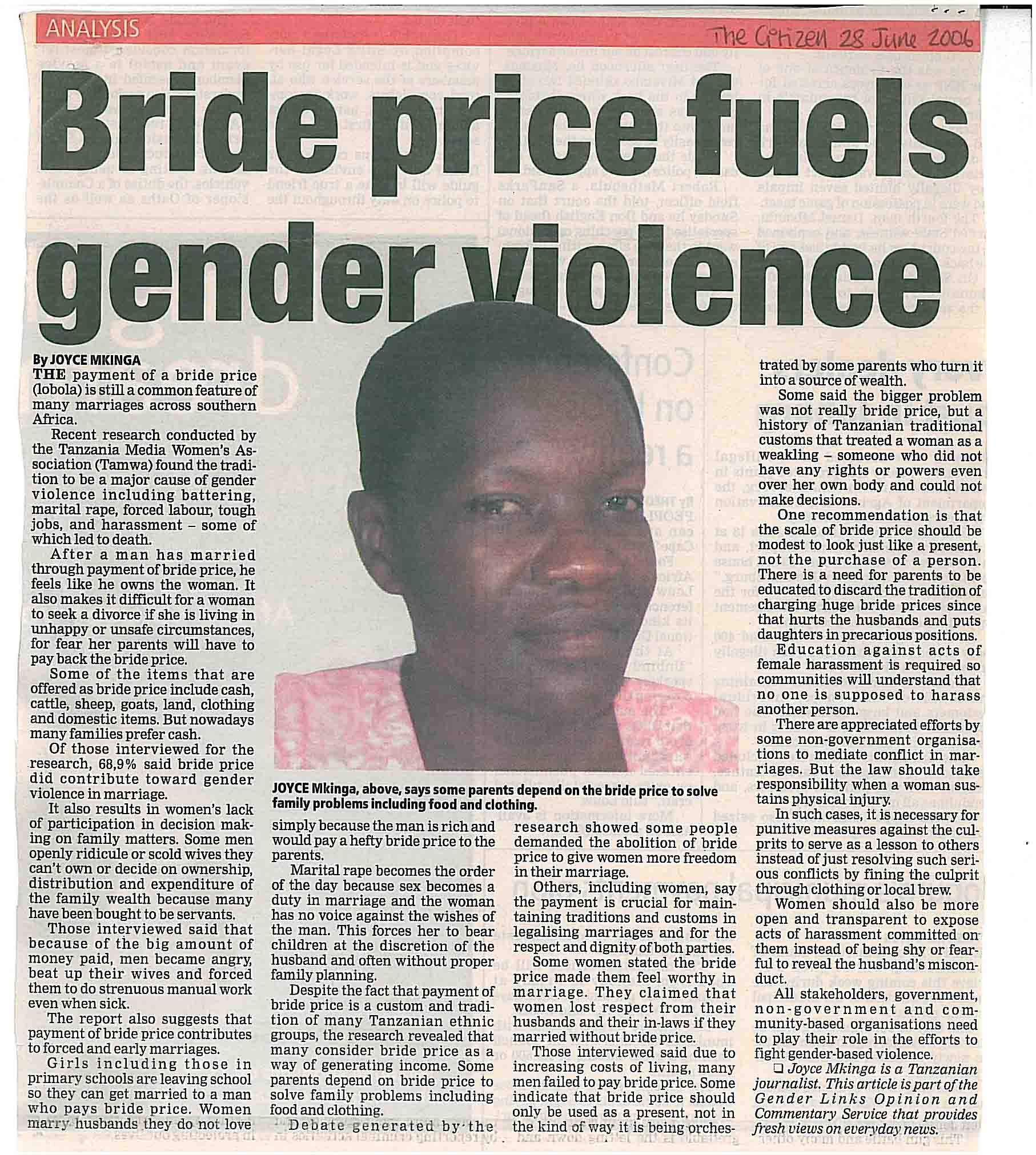 news article bride price blamed violence