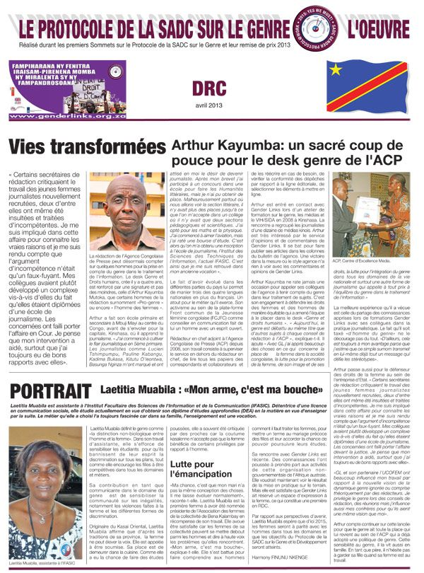 SADC Gender Protocol @ Work DRC News