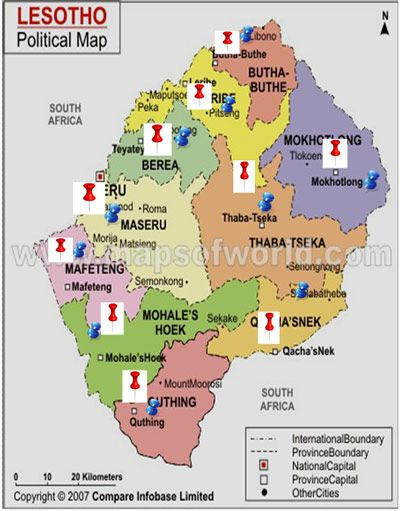 Lesotho Ministry Of Gender And Youth Sports And Recreation - Lesotho political map